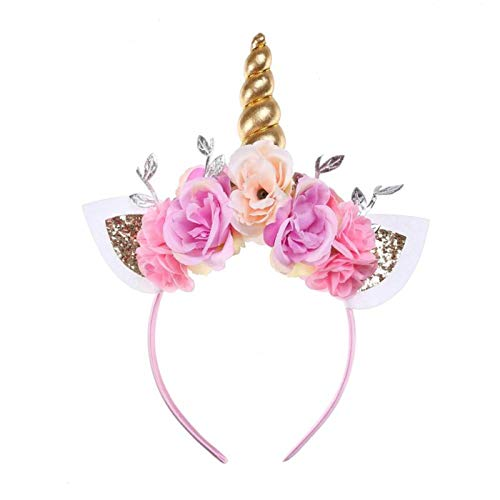 Lumsinker Brillant Licorne Bandeau Fleur Bandeau Couvre-Chef pour Fête Halloween Noël Pink01