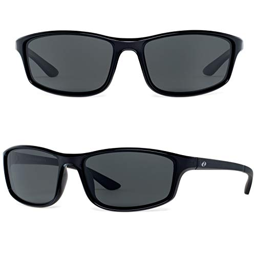 Bnus Paladin italy made corning glass lens polarized sunglasses for men Driving Fishing shades (Black/Grey lens, Polarized)