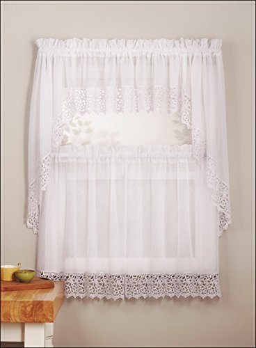 Mk Collection 3pc White Crushed Kitchen/cafe Curtain Tier and Swag Set