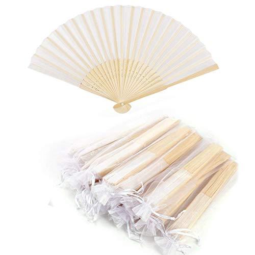Abanico de tela Abanico Decoración plegable Bambú Ventilador Banquete de boda Regalo del favor del partido con el bolso del organza (Blanco, 10 piezas)