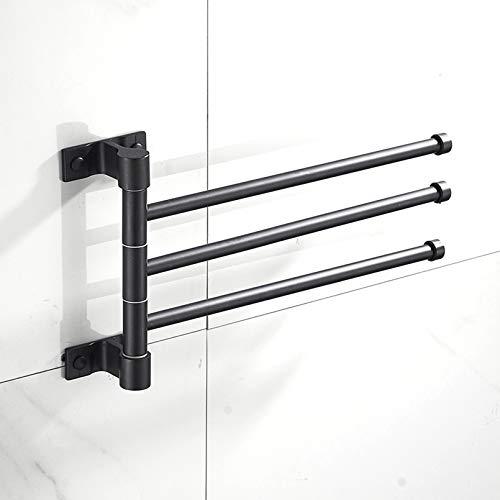 Cutfouwe Toalleros De Baño, 180 ° De Rotación De Toalla De Aluminio Estante De Toalla, con 2/3/4/5 Postes para Baño Y Cocina, Toallero Giratorio,Negro,F2
