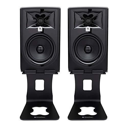 JBL 305P MkII Powered 5-Inch Two-Way Studio Monitor (Pair) Bundle with Knox Gear Monitor Stands (3 Items)