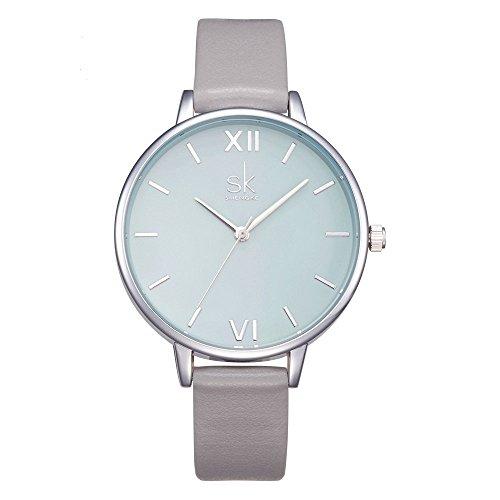 SHENGKE shengke señoras Reloj de Pulsera Creativas Mujeres Relojes Marca Reloj Mujeres Malla Vestido Reloj (K0056L-Grey)