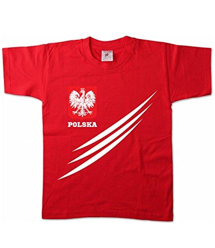 Artdiktat Kinder T-Shirt | Polen Wm Trikot Weltmeisterschaft 2018 Lined | Fan Russia Russland 18 Polska Größe 122/128, rot