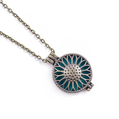 Aktion! Aromatherapie Halskette Aroma Schmuck Blumen Anhänger und Halskette At084 Farbe Antik...