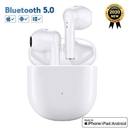 Auriculares Bluetooth, Auriculares Inalámbricos Apt-X Deep Bass con Micrófonos Duales, Reproducción de 24 Horas, Deportivos IPX5 Impermeable, Control Táctil para Android/iPhone/Airpods/Samsung