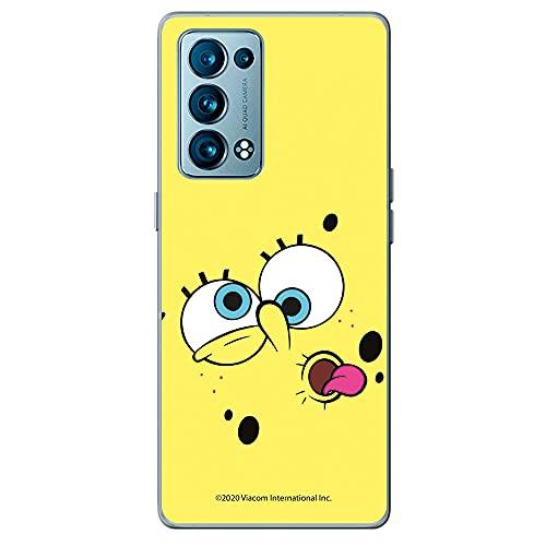 Movilshop Funda para [ OPPO Reno 6 5G ] Bob Esponja Oficial [Cara Fondo Amarillo] Nickelodeon de Silicona Flexible Transparente Carcasa Case Cover Gel para Smartphone.