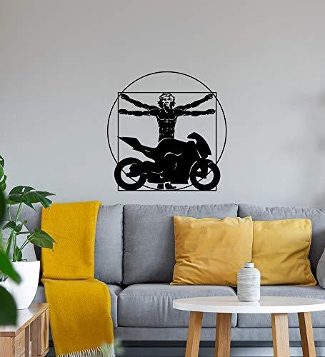 Shirt84.de Da Vinci - Adhesivo decorativo para pared (45 x 45 cm), diseño de bicicleta