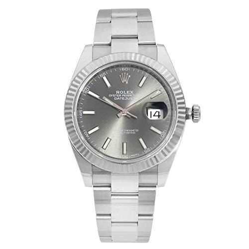 Rolex Datejust 41 Reloj de acero inoxidable con esfera de rodio oscuro para hombre