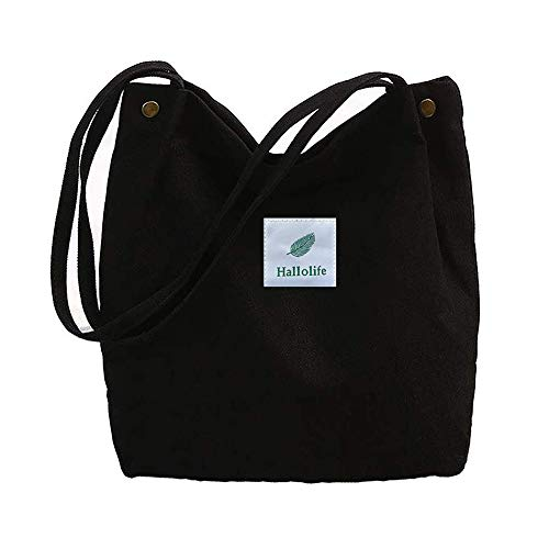 Canvas Tasche Damen Canvas Umhängetasche Shopper Casual Handtasche groß Chic Schulrucksack für Alltag Büro Schulausflug Einkauf, 38 x 32 x 11cm schwarz