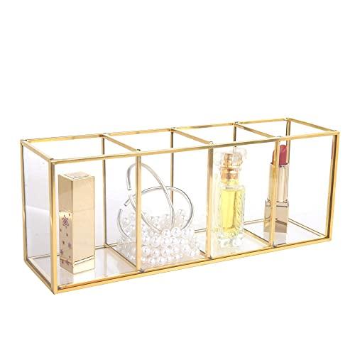 Feyarl Schmuckschatulle Glas Terrarium Box für Ringe und Ohrringe Make-up Bürstenhalter Cosmetics Container(Gold)