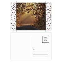 秋の森林科学は自然の風景 クリスマスの花葉書を20枚祝福する