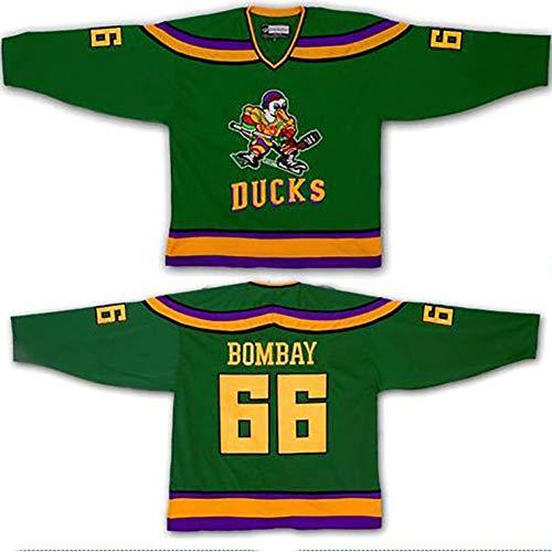 Yajun Gordon Bombay #66 Mighty Ducks Film Eishockey Trikots Jersey NHL Herren Sweatshirts Atmungsaktiv T-Shirt Bekleidung,S