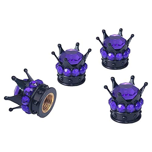JINQIANSHANGMAO Tapa de neumáticos de la Cubierta de la válvula del neumático de 4X Mini (Transparente) (Color : Purple)