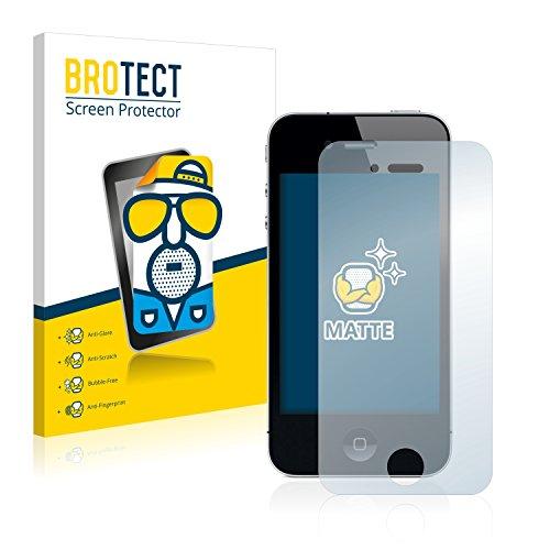 BROTECT 2X Entspiegelungs-Schutzfolie kompatibel mit iPhone 4 / 4S Bildschirmschutz-Folie Matt, Anti-Reflex, Anti-Fingerprint