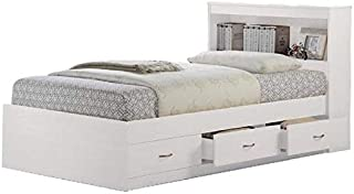 Pemberly Row Twin Captain Storage Bed in White