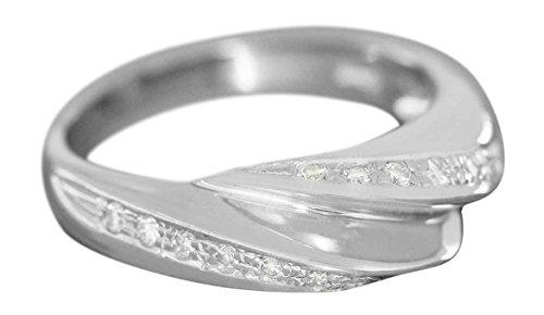 Hobra-Gold Weißgoldring 750 mit 20 Brillanten 0,30 ct. Brillantring Damenring Ring 18 Kt (54 (17.2))