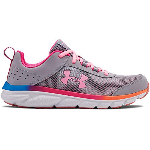 UNDER ARMOUR Kids' Grade School Assert 8 Sneaker, Mod Gray (100)/Pinkadelic, 5.5