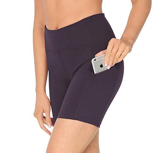 Queeneke - Pantalones cortos deportivos para mujer, con entrepierna, 15 cm, talla media, 3 bolsillos para yoga, correr, control del vientre