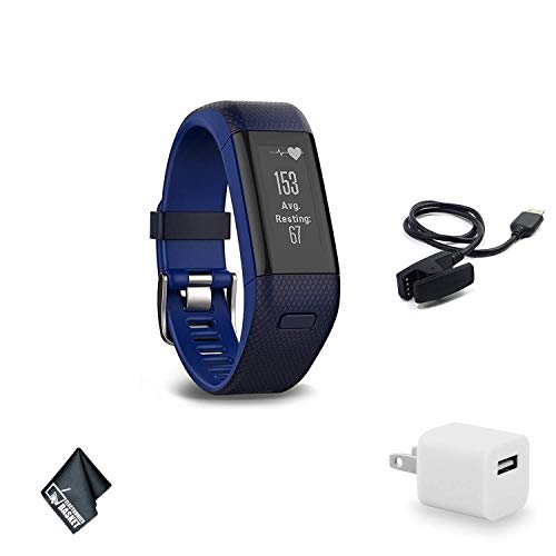 Garmin vivosmart HR+ Regular Fit Activity Tracker - Midnight Blue/Force Blue Fitness Band Bundle with USB Wall Charger