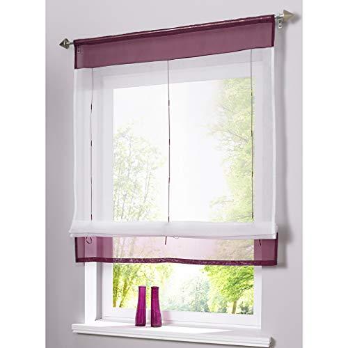 SIMPVALE - Cortina Visillos Transparente para Ventana de Cocina, Baño, Balcón, 1 Unidad, Púrpura, 80x100cm