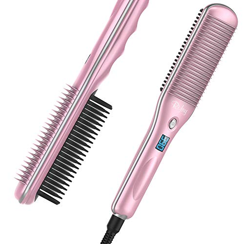 Hair Straightener Brush, Rifny Heated Hair Straightening Comb with Anti Scald Auto Temperature Lock 3 Heat Levels, 30S Fast Ceramic Heating Straightening Brush for Home, Travel and Salon
