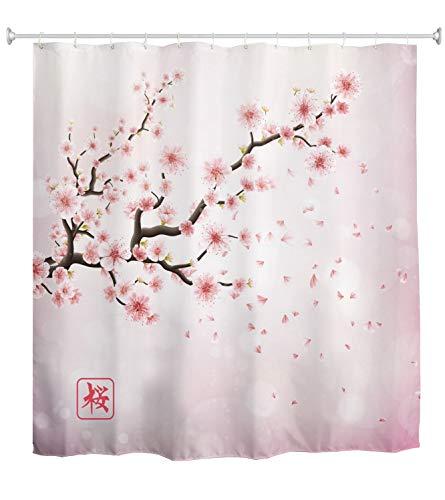 A.Monamour Duschvorhang Japan Kirsche Zweig Mit Blühenden Rosa Blumen Sakura Romantischen Blumen Hintergrund Wasserdichtem Polyester Duschvorhang Mit Haken Für Badezimmer 150X180 cm / 60