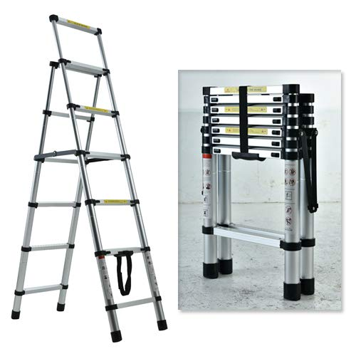 Telescopic Ladder, Folding Step Ladder, Retractable Aluminum Ladder Multi-Position, Adjustable A-Frame Stepladder with Handrails & Safety Lock, 330lbs Capacity(6+7 Step, 7.55ft)