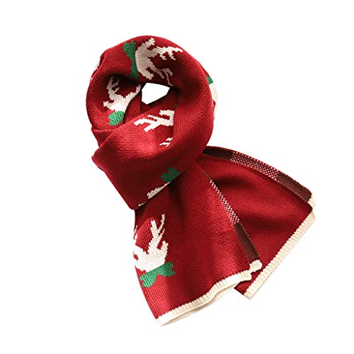 ZHIHUI Poncho Donne Knit Inverno Sciarpa Donna degli Uomini Natale Renna Caldi Regalo Inverno Scialle Lungo Spesso Scaldacollo Vacanze Ultra Leggera (Color : Red)