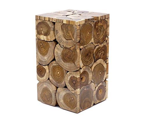Brillibrum Mesa auxiliar de diseño de madera de teca, taburete de flores en aspecto único, robusto, taburete de madera de teca de tronco de árbol (mesa – mediana 50 x 29 x 29 cm natural)