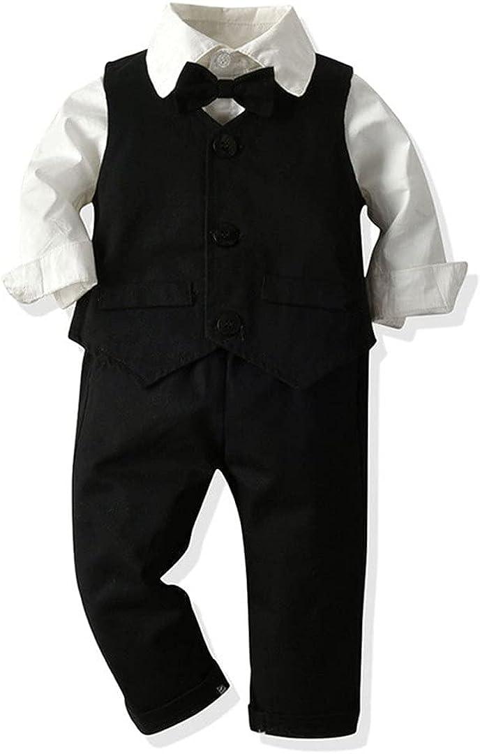 Autumn Winter Kids Boys Clothes Outfits Long Sleeve White Bowtie Shirt+Waistcoat+Pants Formal 3Pcs Suit