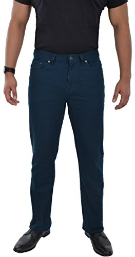 Marken Outlet Kriftel Herren Jeans Hose Straight Leg gerader Schnitt Stretch Hose Blue Petrol W30 - W38 (W36/L32, Blau/Petrol)