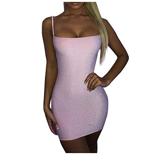 Janly Clearance Sale Vestido para mujer, color sólido, con tirantes abiertos, cadera, dorado, seda, para vacaciones, verano, color rosa