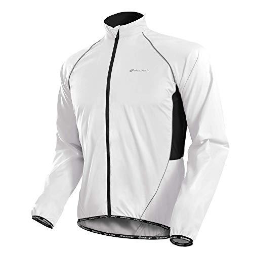 NUCKILY Herren Multifunktionelle Fahrradjacke Windjacke Radjacke Laufjacke Winddicht Wasserabweisend Atmungsaktiv Reflektierend MTB Mountainbike Jacket Anti-UV Joggen Wandern