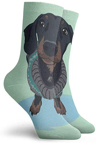 N/A Novelty Funny Crazy Crew Sock Cool Guy - Dachshund Sausage Dog Printed Sport Athletic Socks 30cm Long Personalized Gift Socks