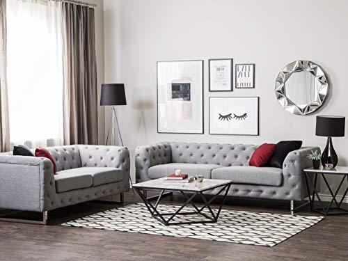 Beliani Modernes Sofa Set 2er Sofa 3er Sofa Polsterbezug Chesterfield Stil hellgrau Vissland
