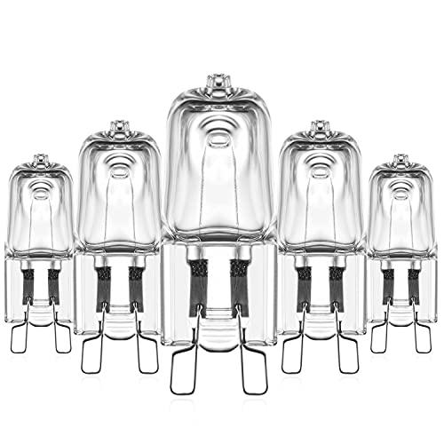 G9 Halogenlampen 25W Halogen Backofenlampe Für Backofen Mikrowellenanwendungen, 300 Grad Celsius Hitzebeständige, Dimmbar 2800K Warmweiß G9 Kapselbirne, AC 220-240V, 5er Pack
