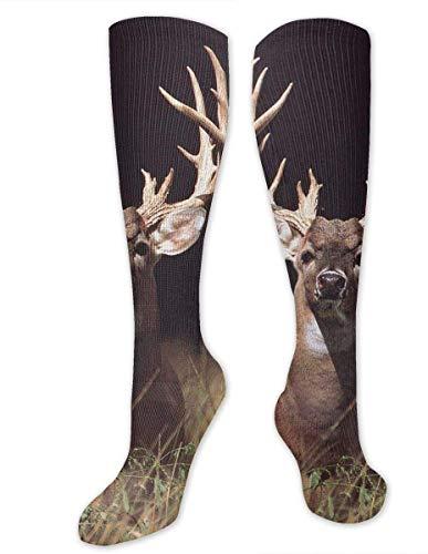 Elsaone Trophäe Buck Deer mit Big Rack Socken Casual Unisex Skala Beste Socken Crazy Neuheit 50 cm