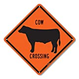 PetKa Signs and Graphics PKAC-0129-NA_10x10'Cow Crossing' Aluminum Sign, 10' x 10', Black on Orange