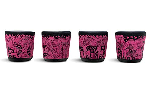Handmade Tequila or Mezcal Shot Glasses, Set of 4, Hand painted Tequila Shot Glasses, Shot Glass Set, Unique Shot Glasses Pink