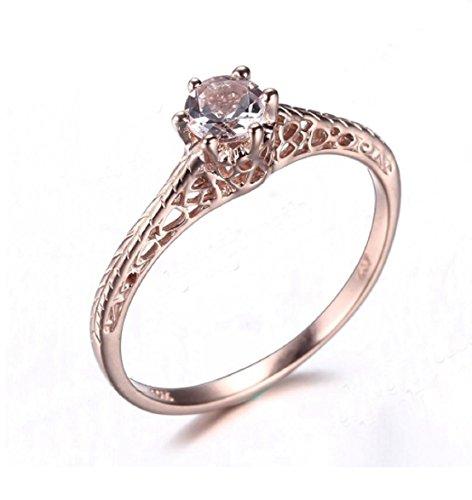 Gowe Damen Art Deco Schmuck Ring massiv 10K Rose Gold Morganit Rund Geschliffen 6mm antik Vintage Verlobungsring Ehering