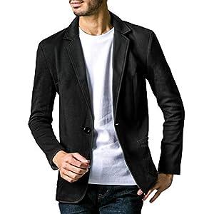 liberte riche(リベルテ リッシュ) メンズ ジャケット テーラードジャケット スウェット ビジネス カジュアル 細身 ストレッチ 6color 5サイズ展開 ブラック XL