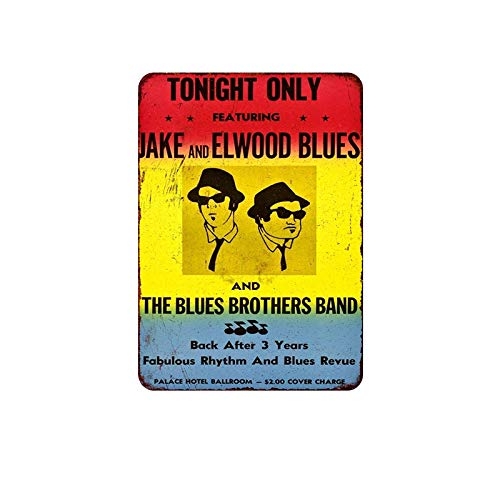 SKYNINE INC De Blues Brothers Band Vintage Tin Signs, 20 x 30cm, Unieke Retro Wall Decoraties voor Lounge/Bar/Cafe/Home Keuken/Restaurant/Slaapkamer/Garage/Man Cave/Gas Station.