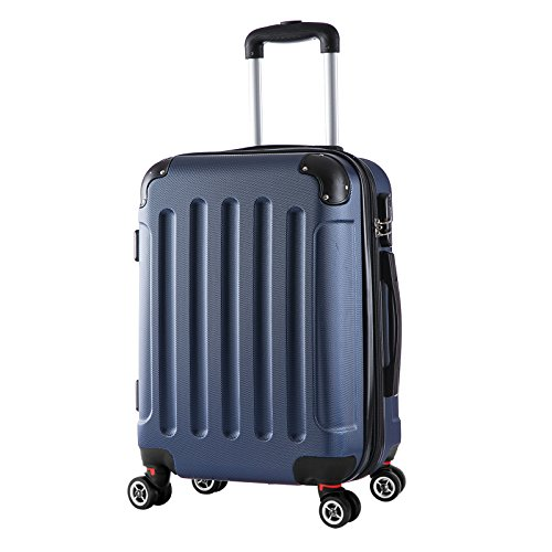 WOLTU RK4201bl, Reise Koffer Trolley Hartschale Volumen erweiterbar, Reisekoffer Hartschalenkoffer 4 Rollen, M/L/XL/Set, leicht und günstig, Blau (M, 55 cm &...