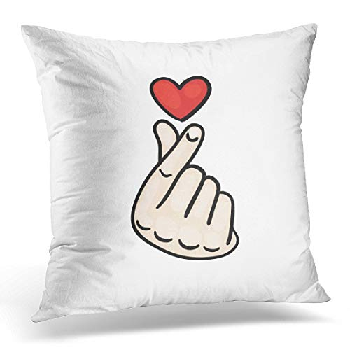 Funda de almohada decorativa Red One Korean Finger Heart I Love You Hangul Symbol Mensaje de mano de signo de gesto para The and White Asian Throw Pillow Funda Cuadrada Decoración para el hogar Funda
