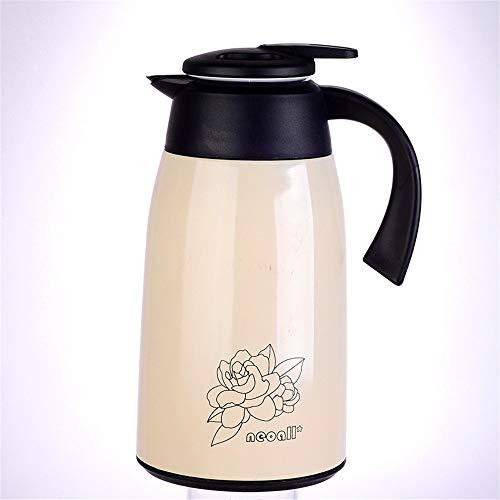 ChengBeautiful Jarra Térmica Copa de vacío con Aislamiento de Gran Capacidad de la Caldera Caliente y frío Durante 12 Horas Adecuado for el café y té (Color : Beige, Size : 1.3l)