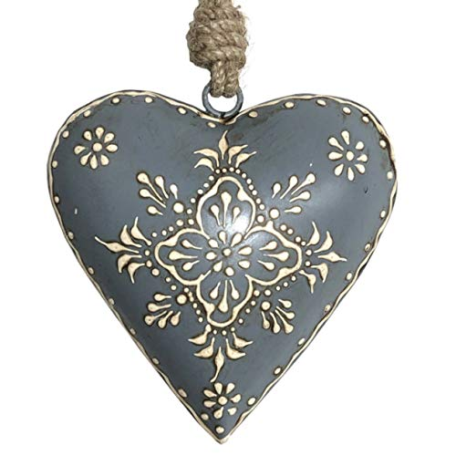 L'ORIGINALE DECO Cœur à Suspendre en Métal Fer Patiné Gris Bleuté 11 cm x 11 cm