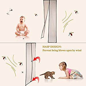 """Magnetic Screen Door 36 x 96, Mosquito Patio Screens Magic Door Mesh 36 X 96 Fit Doors Size up to 34""""W X 95""""H Max with Full Frame Velcro French Back Door Curtain Keep Fly Bug Out"""