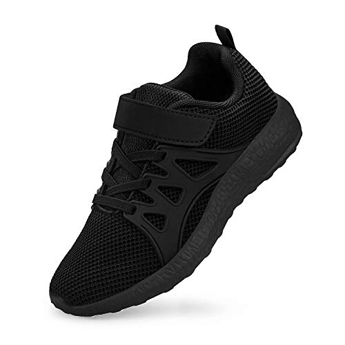 MARSVOVO Black Shoes for Girls Boys Kid Sneakers Size 1.5 Little Kid Cute School Sport Gym Casual Shoes Black Cute School Sport Gym Casual Shoes Black