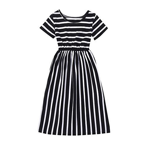 Sameno Summer Toddler Baby Girls Short Sleeve Striped Print Dress Kids Dresses Clothes (Black, 4-5 Years)